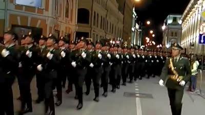 2015年俄罗斯莫斯科阅兵彩排中国解放军三军仪仗队