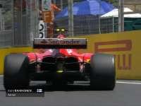 F1阿塞拜疆站一练 莱科宁后轮打滑险些撞上护墙