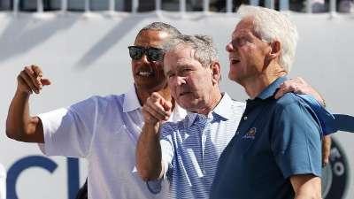 总统杯高尔夫赛开幕式 三位美国前总统出席
