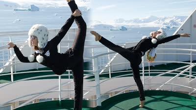 金晨秀180度劈腿神技 挑战南极最难立式撑桨