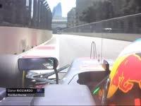 F1阿塞拜疆站三练 里卡多赛车甩尾前轮险些上墙