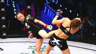 """格斗""""林妹妹""""林荷琴狂轰滥炸 第一回合TKO对手获胜"""