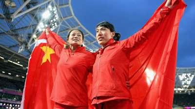世锦赛女子标枪决赛 李玲蔚吕会会获得银铜牌