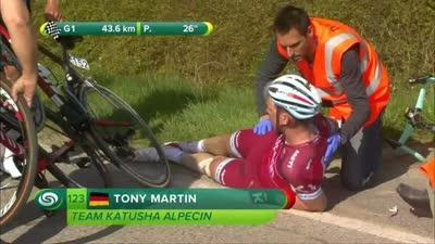 托马摔车疑似背部受伤 萨甘也被波及