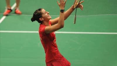 全英羽毛球公开赛女单1/8决赛 何冰娇vs马林