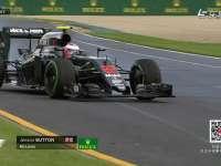 F1澳大利亚站FP2 巴顿过弯左前胎发生锁死