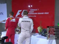 F1澳大利亚站 维特尔汉密尔顿赛后淘气打闹扔帽