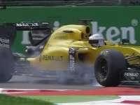 F1意大利站FP2 马格努森1号弯右前胎锁死