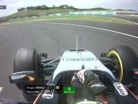 F1马来西亚站FP2 佩雷兹内线超车轮胎锁死
