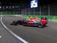 F1新加坡站FP2:里卡多出弯甩尾险上护墙