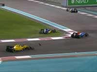 F1阿布扎比站正赛:奥康与纳斯尔发生擦碰飞出碎片
