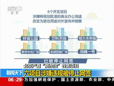 """[视频]北京严查""""商改住""""在售项目:六项目涉嫌违规被停止网签"""
