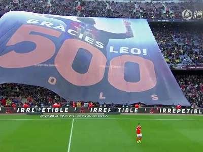 [视频]震撼!诺坎普巨幅TIFO致敬梅西500球谢谢你莱奥