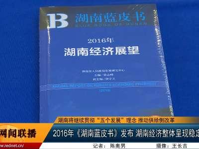 2016年《湖南蓝皮书》发布 湖南经济整体呈现稳定向好态势