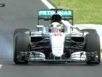 F1匈牙利站FP1 汉密尔顿大力制动锁死右前胎