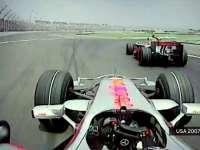 F1美国站经典(5)2007汉密尔顿成功阻挡阿隆索