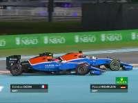 F1阿布扎比站正赛:马诺队友入弯互不相让