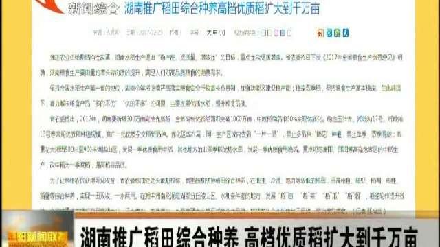 湖南推广稻田综合种养 高档优质稻扩大到千万亩