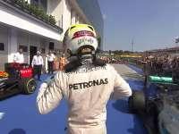 F1匈牙利站正赛:赛后庆祝汉密尔顿好高兴!