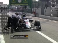 F1意大利站FP2 阿隆索赛车停在维修区失去动力