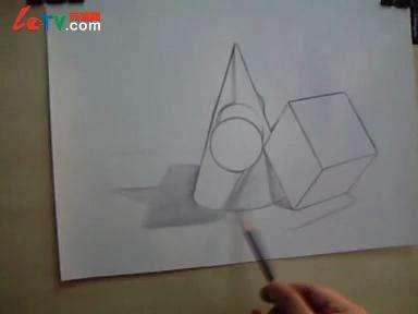 素描几何形体组合七步骤2