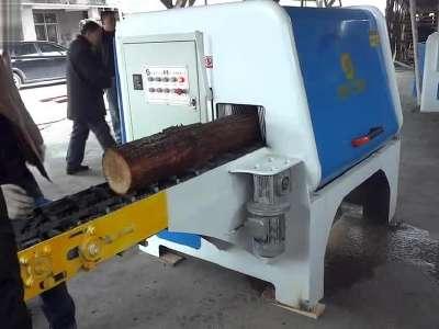 2014木工机械设备圆木多片锯视频8-20出一方