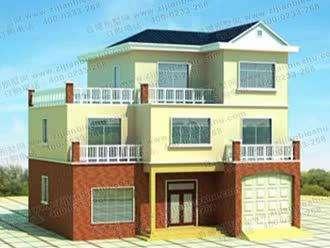 三层带车库自建房屋多露台设计图纸及效果图
